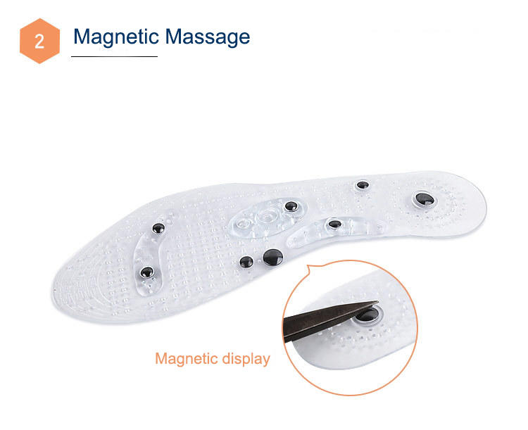 Pain relief foot massage insoles, gel magnetic acupuncture massage shoe insole for blood circulation