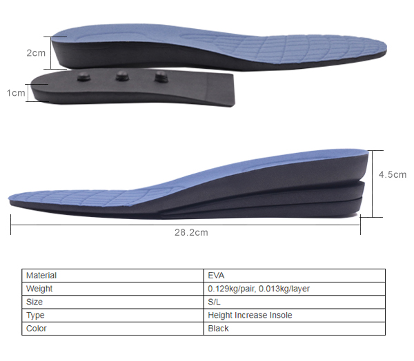 S-King-High-quality Height Insoles | Elevator Insole Full Length Eva Height Increasing