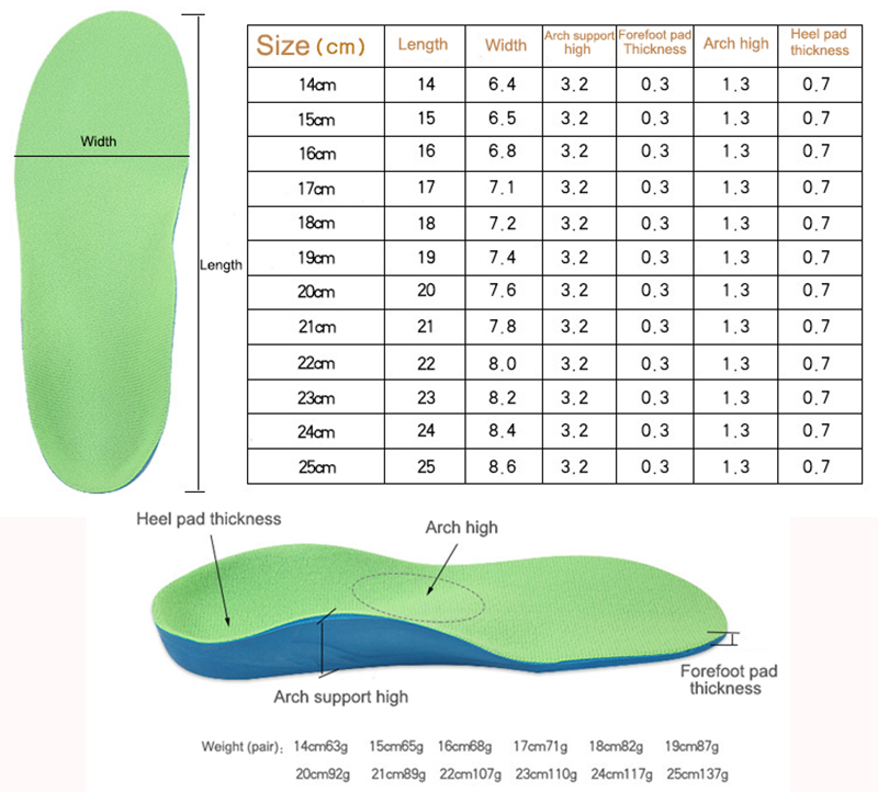 S-King-Kids Inner Soles Plantar Fasciitis Child Orthopedic Orthotic Insoles