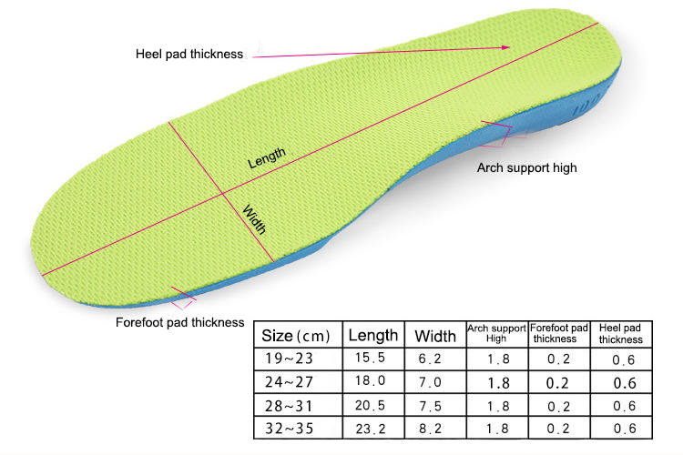 orthopedic gel inserts for kids for boots for children S-King
