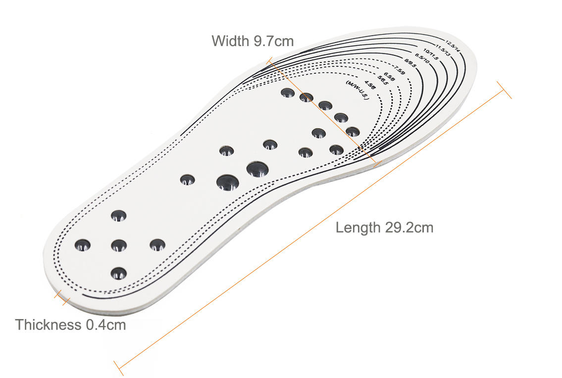 Memory Foam Magnetic Massage Insoles Soft Latex for Plantar Fasciitis