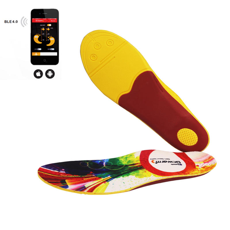Heated Insoles smartphone- controlled Wireless Control rechargeable power king battery heating shoes insoles