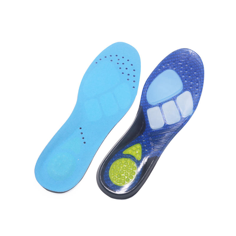 Gel sports insole Foot balance shock absorption Antibacterial with color block