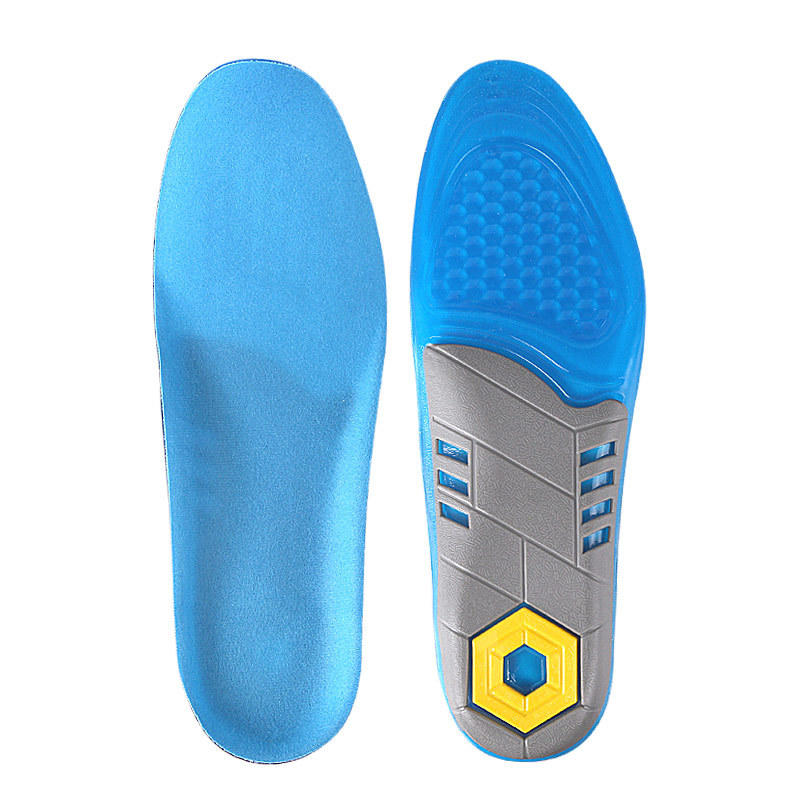TPE three color full length unisex thick soft and massage ultra Elastic anti-slip shock absorption sport gel insoles