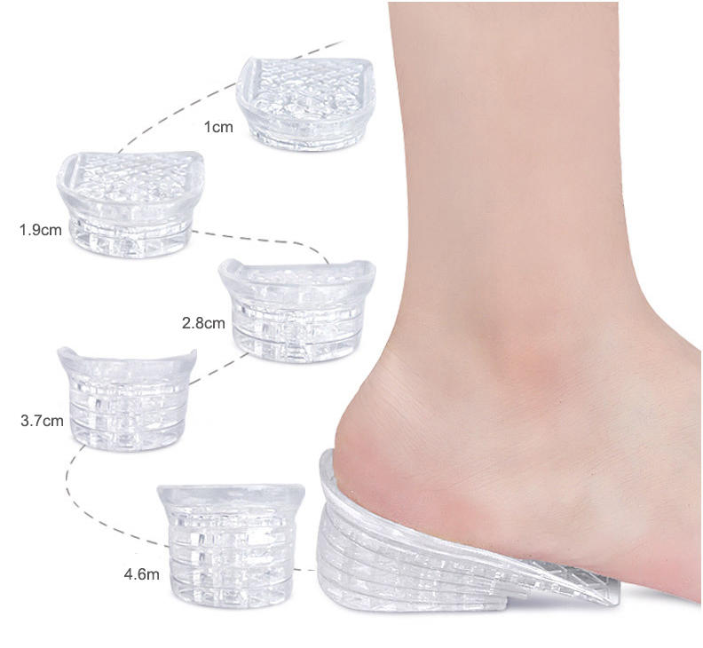 Height increase shoe insoles Five Layer Breathable Invisible silicone height elevator boosting
