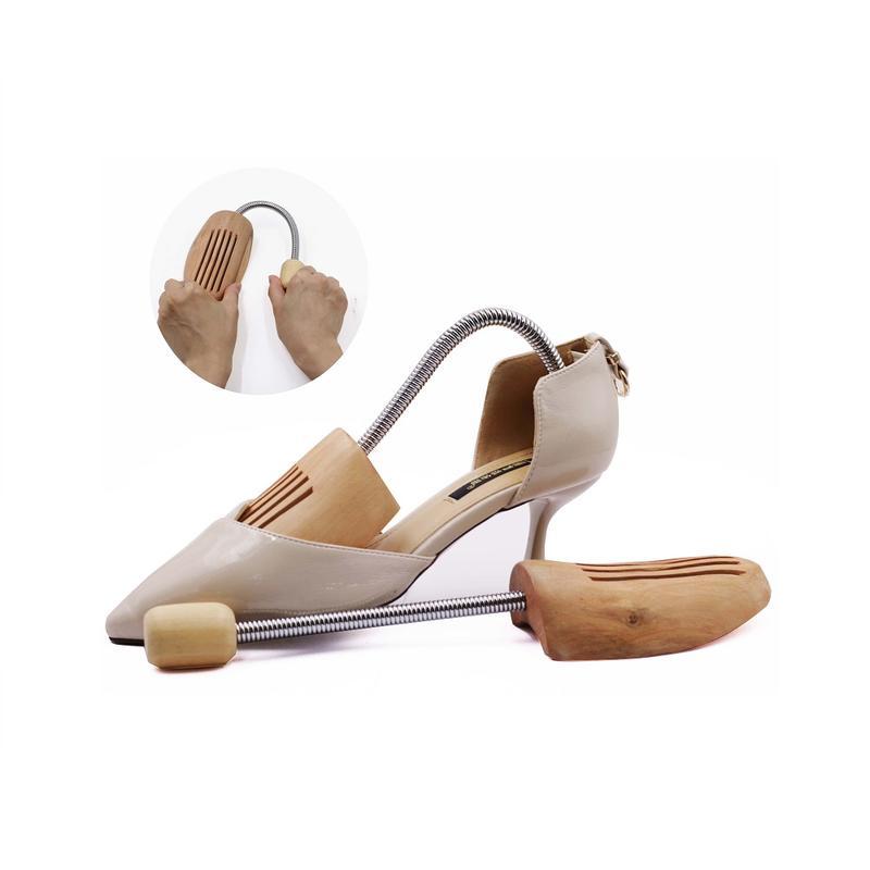 shoe care shoe filler stretcher, cedar wooden shoe tree with Metal Spring tube
