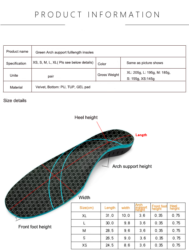 product-Custome Orthotic Insoles for Flat Feet, Arch Support Thin Shoe Inserts Against Plantar Fasci