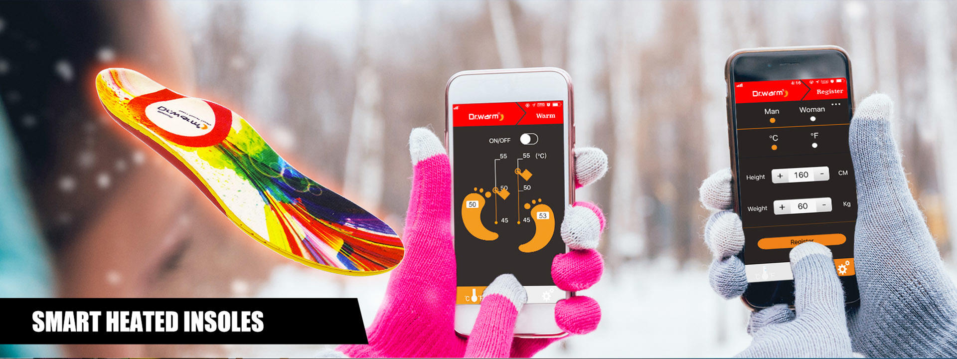 S-King-Wireless Heated Insoles, Heated Insoles Smartphone- Controlled Wireless